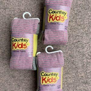 🍉NWT: sz 0-12 mo girls pink striped cotton tights